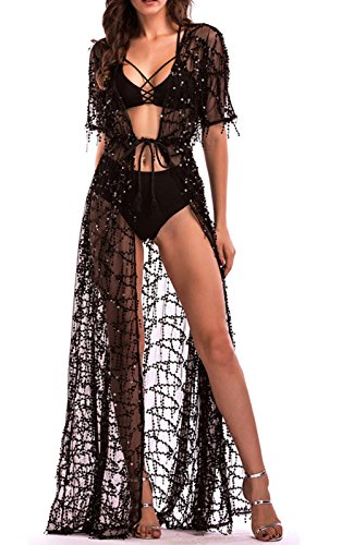 (Cresay Women Lingerie Sequins Sexy Long Dress Sheer Gown Kimono Robe-Black-XL)