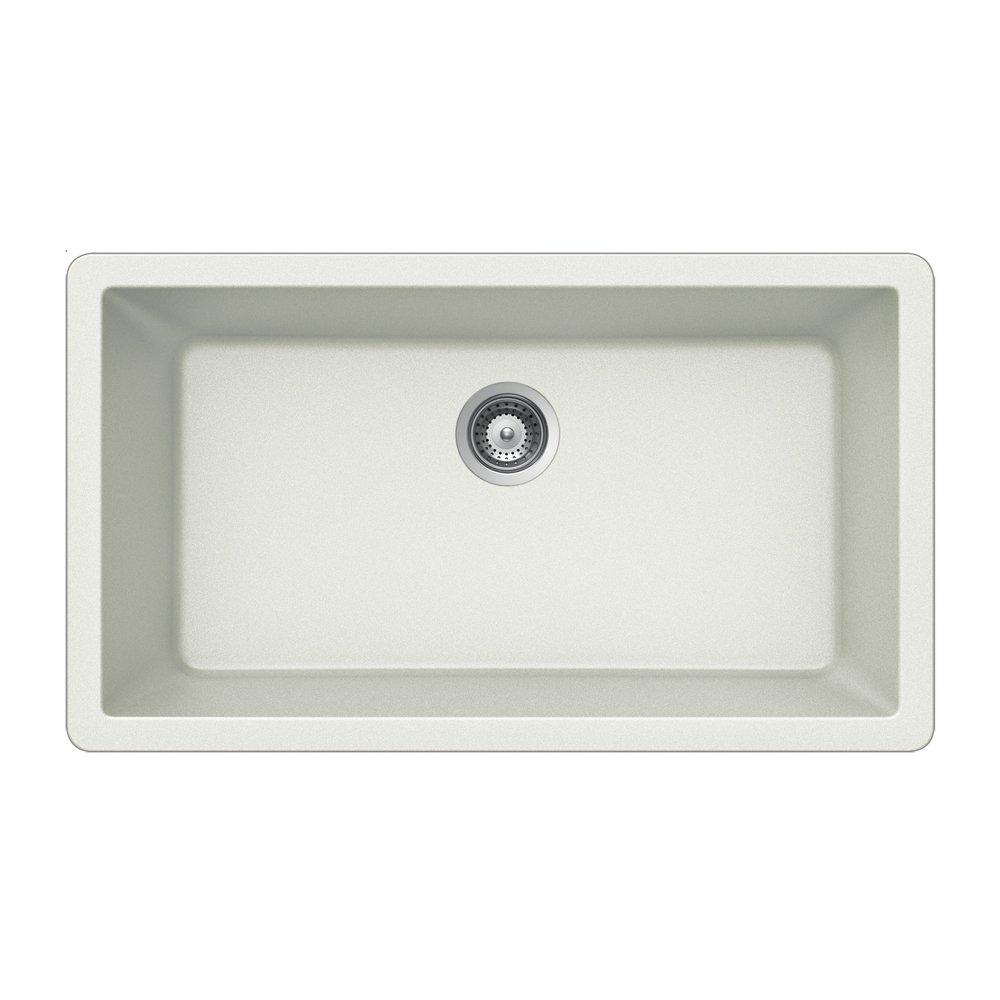 Houzer V 100U CLOUD Quartztone Series Granite Undermount Large Single Bowl  Kitchen Sink, White     Amazon.com
