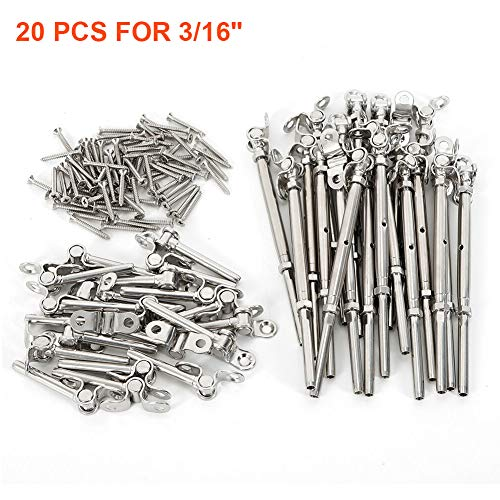20 Pack T316 Stainless Steel Cable Railing Kits fit 3/16