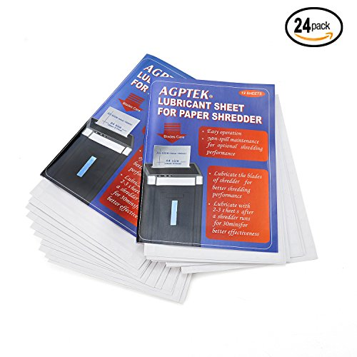 AGPtEK Cross-cut Paper Shredder Sharpening Lubricant Sheets (Pack of 24)