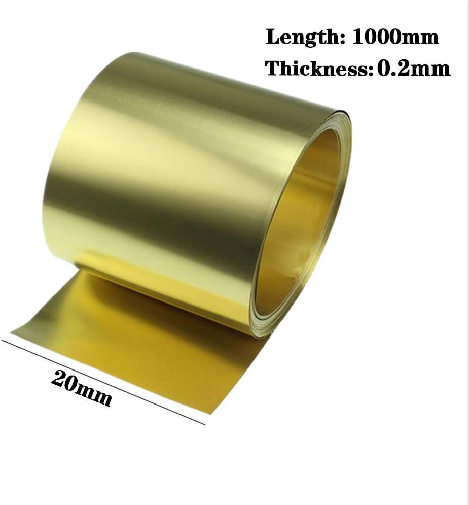LEISHENT H62 Brass Metal Thin Sheet 0.2X20x1000mm
