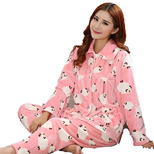 Winter's Flannel Home Thicken Coral Velvet Women Pajamas Set (XL, Sheep Pink)