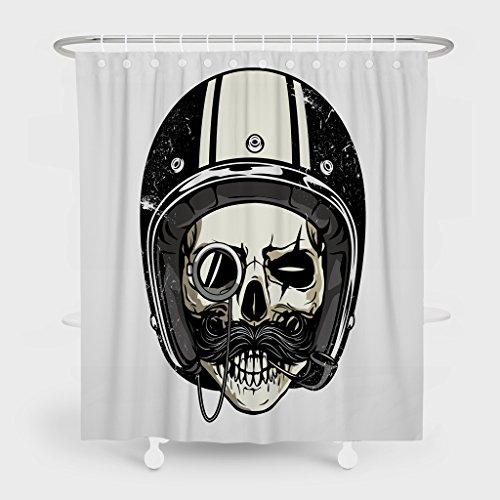 Summor Mildew Resistant Shower Curtains,Skull With Helmet And Moustache Painting Art Bath Curtain Liner - Waterproof Polyester Fabric Bathroom Decor Set With 12 Hooks - 72x78 -