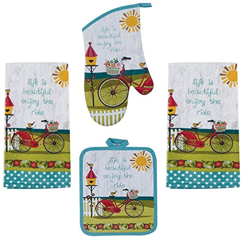 Designs Oven Kay Mitt Dee (Kay Dee 4 Piece Kitchen Set - 2 Terry Towels, Oven Mitt, Potholder (Enjoy the Ride))
