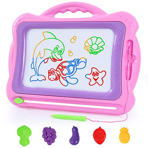 SGILE Magnetic Drawing Board, Doodle Board Drawing Writing Sketching Pad for Toddlers Kids, Pink