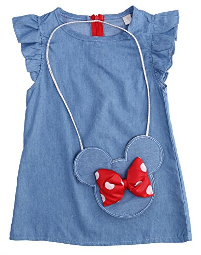 Minnie Mouse Baby Outfits - StylesILove Baby Girl Ruffle Sleeve Shabby Denim Dress with Minnie Mouse Cross Body Mini Coin Bag 2 pcs Set (80/2T)