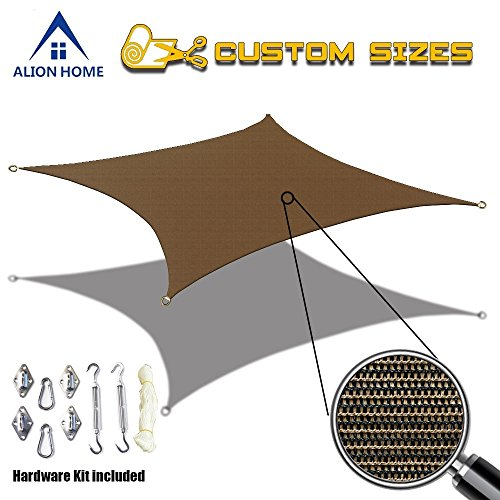 Alion Home Custom Sized Durable Permeable Sun Shade Sail with 6'' Stainless Steel Hardware Kit - Rectangle - Mocha Brown (9' x 12') (Patio Replacement Awning Covers)