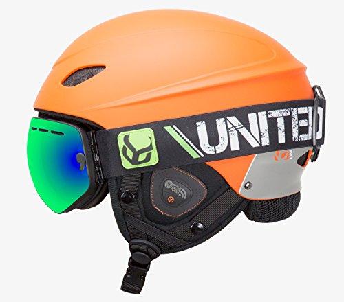 Orange Professional Helmet - Phantom Helmet Audio Snow Supra Goggle (Orange, Medium)