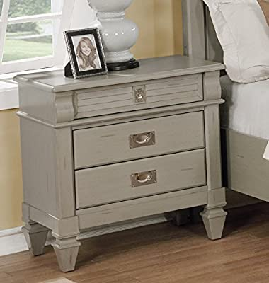 Roundhill Furniture B204N York 204 Antique Grey 3 Drawers Night Stand