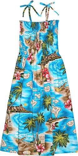 RJC Women's Hibiscus Hawaiian Island Hawaiian Smocked Sundress Turquoise - Bridesmaid Dress Strapless After Six