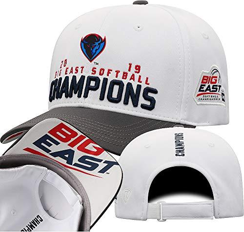 Elite Fan Shop DePaul Blue Demons Big East Softball Champs Hat 2019 Locker Room - Adjustable - White