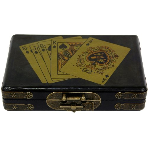Oriental Furniture Black Lacquer Cards Set Box by ORIENTAL FURNITURE
