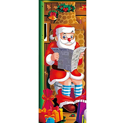 Christmas Window Clings Decal Wall Stickers - Christmas Santa Window Door Cover Santa Claus Reads The New Door Stickers Glass Window Stickers.