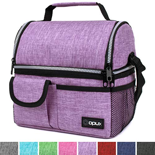 OPUX Deluxe Thermal Insulated Dual Compartment Lunch Bag for Women | Double Deck Reusable Lunch Box with Shoulder Strap, Soft Leakproof Liner | Large Lunch Tote Pail for Work, School (Purple) ()
