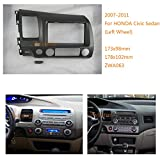 Autostereo 11-063 Two Din Car Stereo Radio Fascia Facia Panel Complete Fitting Kit for HONDA Civic Sedan 2007-2011 Left Wheel Car Radio Installation Frame Honda Civic radio fascia frame