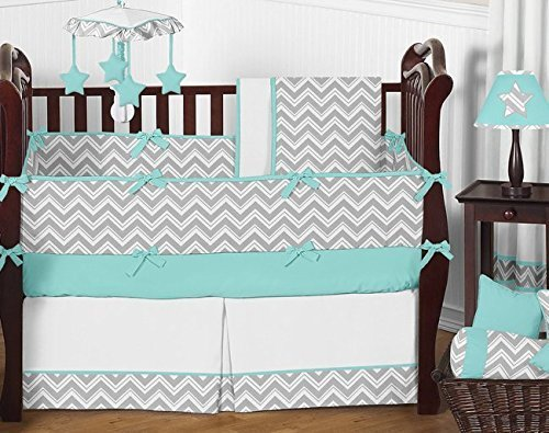 Sweet Jojo Zigzag Gray & Blue Gender Neutral Baby Crib Beddi