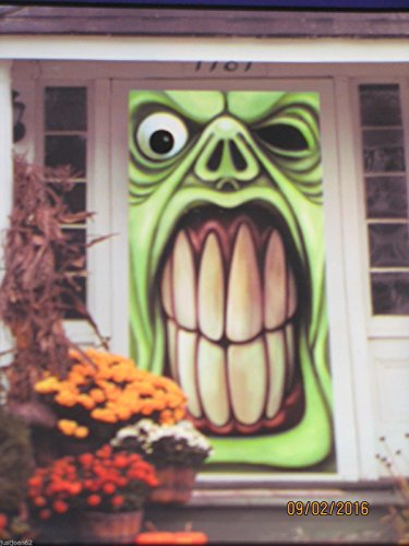Halloween Door Cover Decoration Green Ghoul Goblin Scary Monster 30