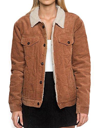 HaoDuoYi Womens Fashion Faux Fur Collar Corduroy Coat Winter Jacket(XXL) by HaoDuoYi (Image #2)