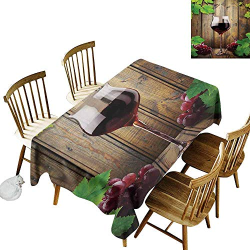 Winery Restaurant Tablecloth Wine Glasses and Grapes Rustic Wood Planks Alcoholic Drink Gourmet Taste Picnic W60 x L102 Brown Green Burgundy