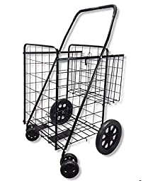 Wellmax WM99017S Double Basket Folding Shopping Cart with Swivel Wheels, Black