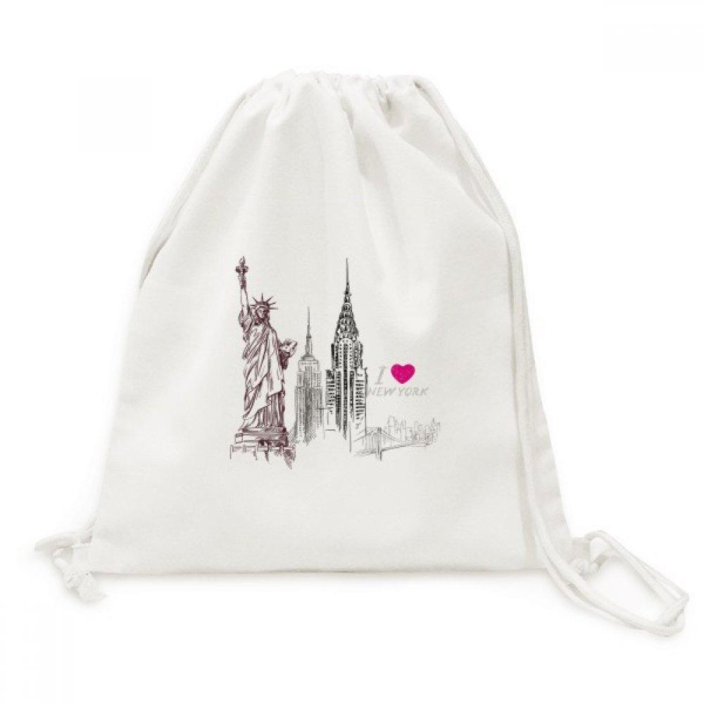 I Love New York America カントリーシティキャンバス巾着バックパック旅行ショッピングバッグ B07C834RW6
