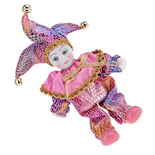 Fenteer Adorable Victorian Porcelain Dolls Baby Angel Model Triangel Doll Harlequin Clown Doll Toys Birthday Festival Gifts Crafts Pink]()
