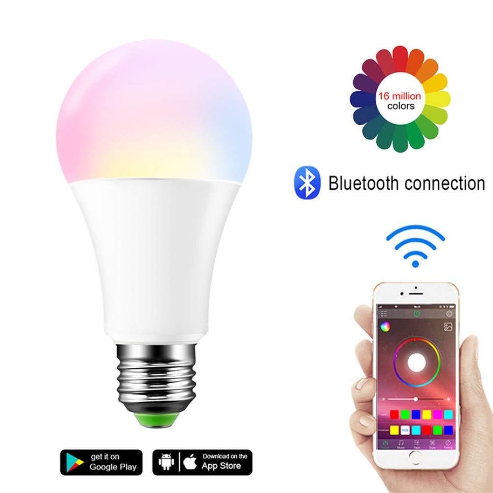 MMYYY Smart Light Bulb RGB Bluetooth Smart Led Bulb E27 Dimmable B22 Rgbw Rgbww Led Bulb Music Voice Control Smart Light Lamp for Home Decor by MMYYY