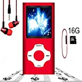 MP3 Player / MP4 Player, Hotechs MP3 Music Player with 16GB Memory SD card Slim Classic Digital LCD 1.82'' Screen MINI USB Port with FM Radio, Voice record (16G.-Red)