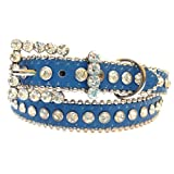 Girls Blue Leather Belt and Clear Rhinestone Belt Buckle, Size M/L