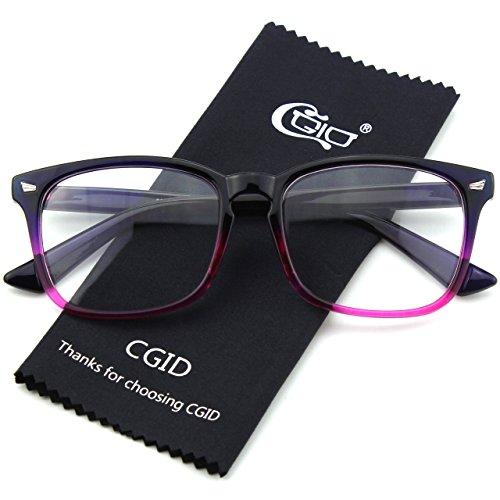 Mujer y Azul Anteojos CGID Claro Retro CN82 Para Gafas Lente Hombre 86xwn1g6