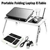 SAFETYON Laptop Lap Desk Foldable Table E-Table Bed with USB Cooling Fans Laptop Lap Desk Stand TV Tray