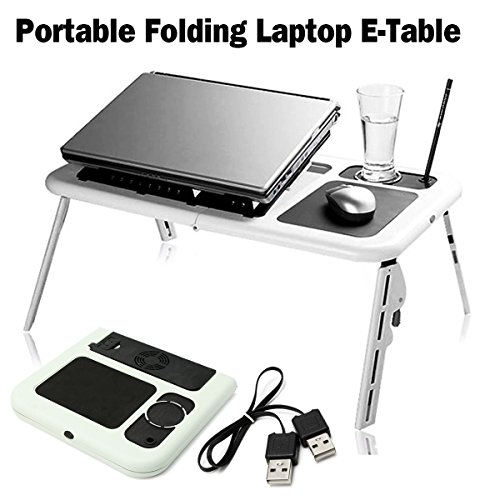 SAFETYON Laptop Lap Desk Foldable Table E-Table Bed with USB Cooling Fans Laptop Lap Desk Stand TV Tray by SAFETYON