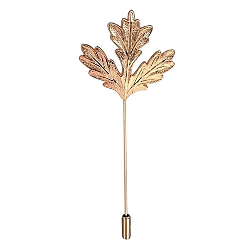 Gold Silver Color Long Metal Stick Pin Maple Leaf Shape Brooch Pins with Jewelry Pouch MINGHUA