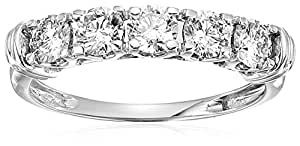 1 cttw AGS Certified SI2-I1 5 Stone Diamond Ring 14K White Gold in Size 4.5