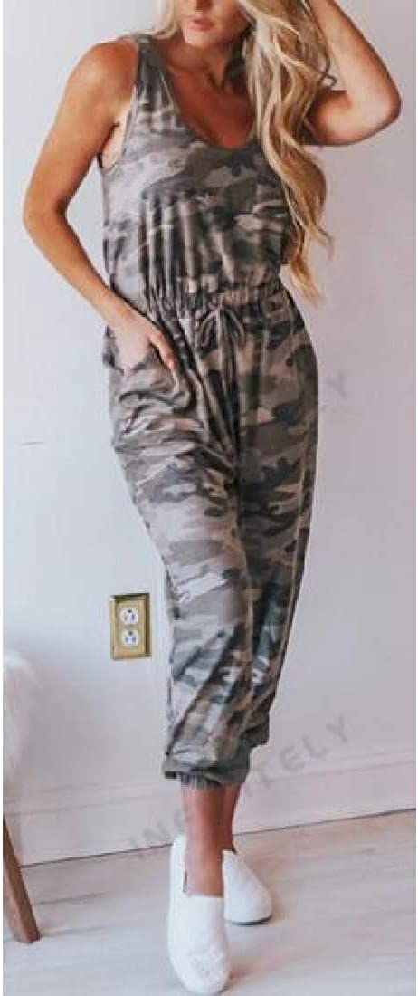 Joe Wenko Womens Sleeveless Camo Tank Loose Capri Pants Romper Jumpsuits