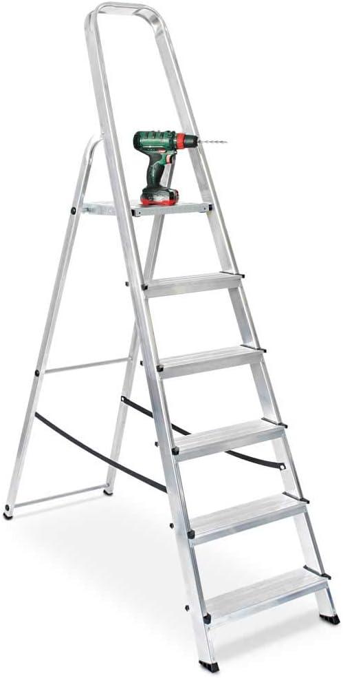 Ablage 6 Stufen Arbeitsh/öhe bis 3210 mm Alu Stufenleiter Eimerhaken