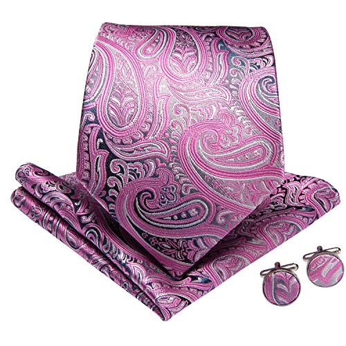 DiBanGu Paisley Tie and Pocket Square Men's Woven Necktie Cufflink Clip Sets (Pink)