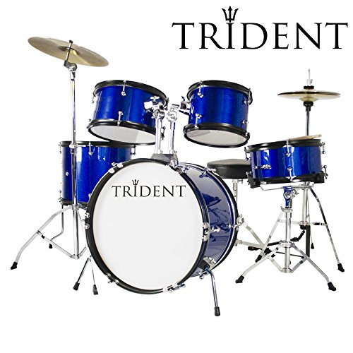 trident-junior-16-drum-set-5-pcs-complete-set-cymbals-drumsticks-pearl-blue