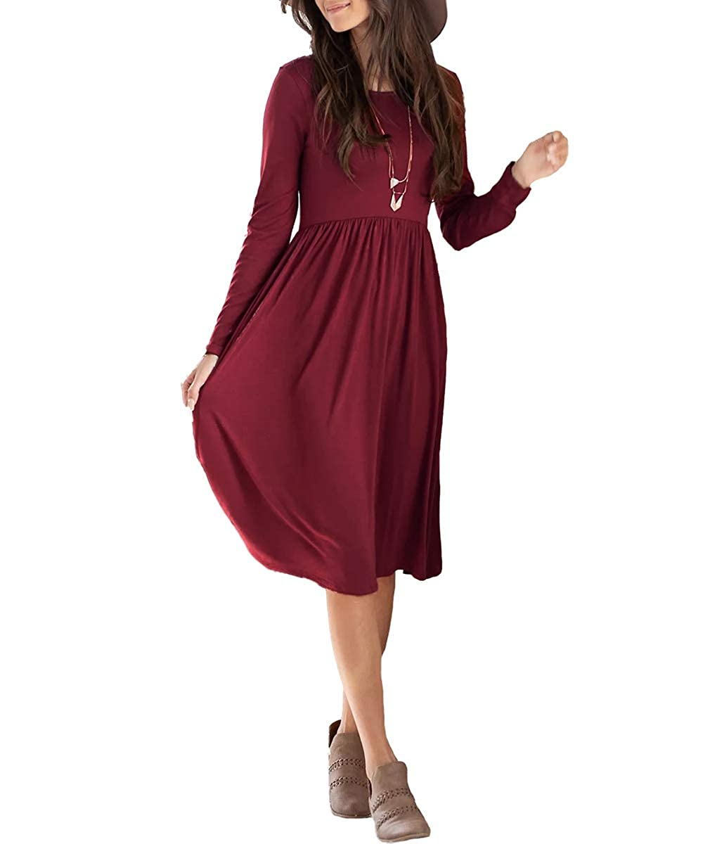 Deep Red Dressation Women's Long Sleeve Pleated Loose Swing Casual Dress with Pockets Knee Length