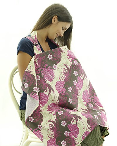 Nursing Cover - Breathable Cotton Breastfeeding Apron – Purple Floral Pattern - Baby Feeding