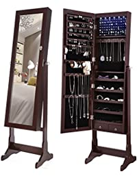6 LEDs Jewelry Cabinet Lockable Standing Jewelry Armoire Organizer with Mirror 2 Drawers Brown UJJC94K