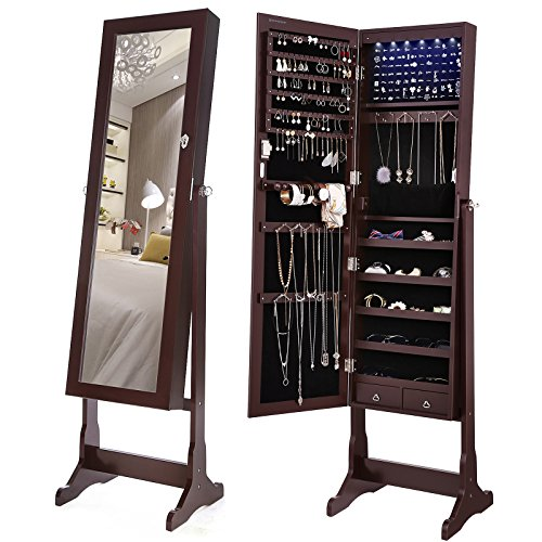 SONGMICS 6 LEDs Jewelry Cabinet Lockable Standing Jewelry Armoire Organizer with Mirror 2 Drawers Brown UJJC94K by SONGMICS