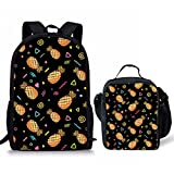 Showudesigns Pineapple 17inch Book School Backpack Daypack Lunch Box Bag for Teens Boys Girls