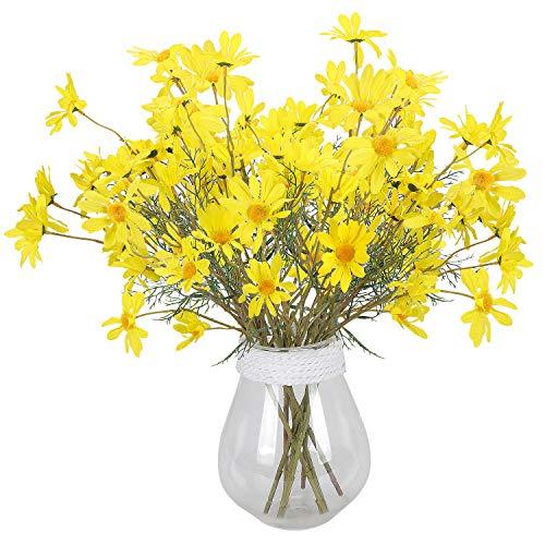 (RERXN Artificial Flowers Silk Daisy perennis Long Stem Fake Gerbera Sunflower Home Wedding Offince Decor. Pack of 5 (Yellow))