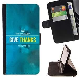 Momo Phone Case / Flip Funda de Cuero Case Cover - BIBLIA En Todo Dar Gracias - Tesalonicenses 5:18; - Samsung Galaxy J3 GSM-J300