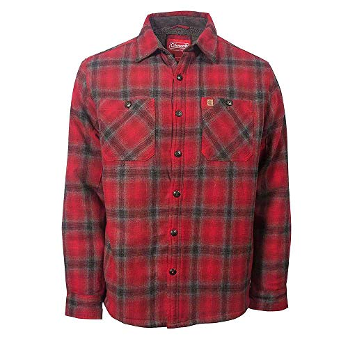 Coleman Flannel Sherpa Shirt Jacket Red Charcoal Small
