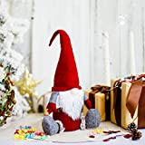 ITOMTE Handmade Swedish Gnome, Scandinavian Tomte with Clear Plastic Jar/Canister, Winter Table Ornaments, Food/Candy Storage Container, Christmas Decorations, Holiday Presents - 18 Inches, Red