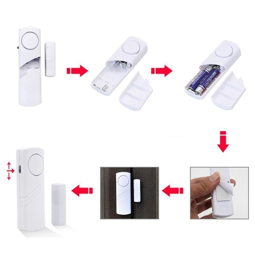 STRIR Alarma para puertas y ventanas - set de 10 protecciones antirrobo - alarma inalámbrica - 120dB intensidad acústica - Seguridad para el hogar