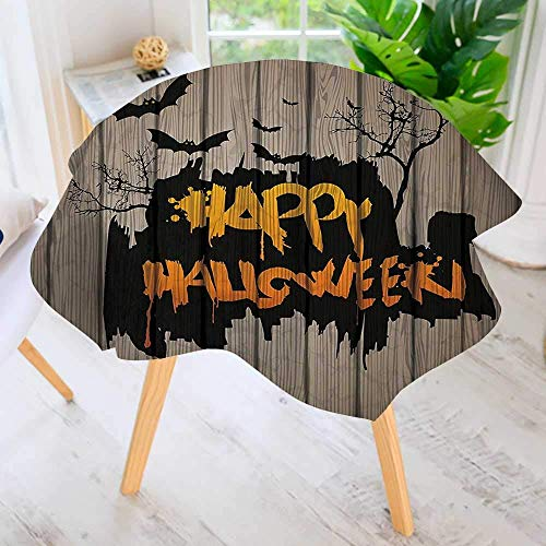 (CANCAKA Round Tablecloths- Halloween Graffiti Style Lettering Rustic Wooden Fence Scary Evil Effect Waterproof Oilproof Hotproof Table Cloth Table Multiple Styles 55
