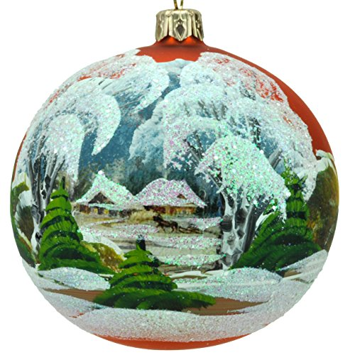 Xmas Decorations Handmade - Handmade and Hand Painted Glass Christmas Ornaments. Xmas Tree Ball Decoration (Orange Landscape)